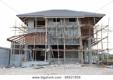 Construction House Structure Made From Cement And Brick