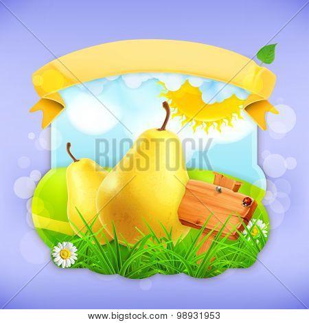 Yellow pear, vector label design