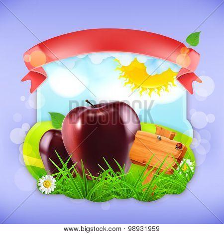 Juicy apples, vector label design