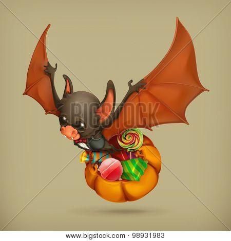 Funny bat, vector icon