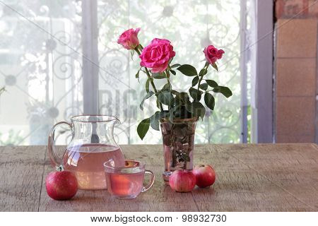 Apple Compote In A Transparent Jug