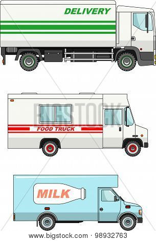 Set of different cars: food truck, delivery and milk cars. Vector illustration.