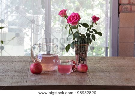 Compote From Apples In A Transparent Jug