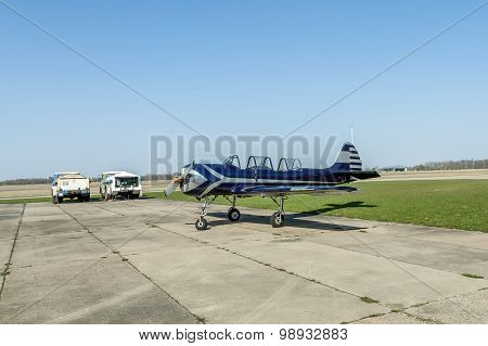 Airports Small Sport Airplane Preparing To Flight