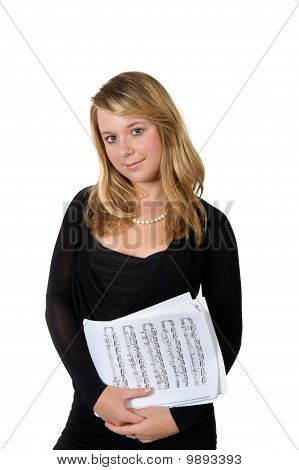 Young Lady With Scores On White Background