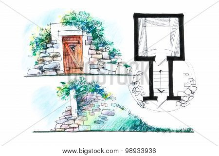 Variant Of A Cellar Design Illustration