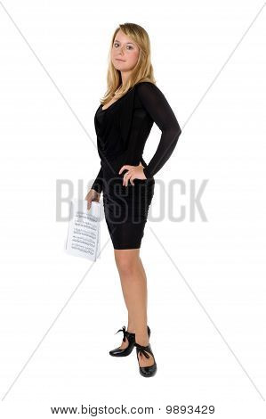 Young Lady With Piano Scores Standing On White Background