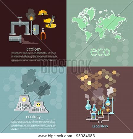 Pollution Ecology Concept Oil Waste Management Chemical Pollution Destruction Of The Planet Vector I