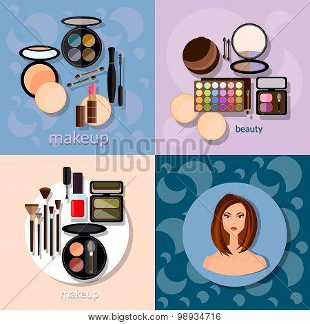 Makeup Brushes Hadows Professional Make-up Details Cosmetology Beautiful Woman Face Vector