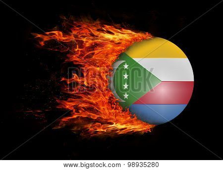 Flag With A Trail Of Fire - Comoros