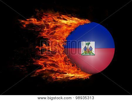 Flag With A Trail Of Fire - Haiti