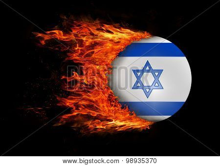 Flag With A Trail Of Fire - Israel