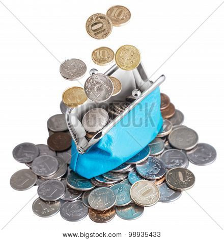 Blue Purse With Falling Coins