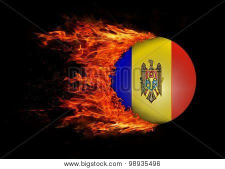 Flag With A Trail Of Fire - Moldova