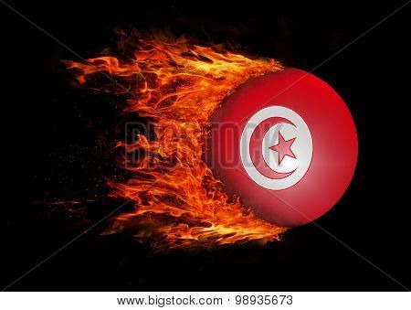 Flag With A Trail Of Fire - Tunisia