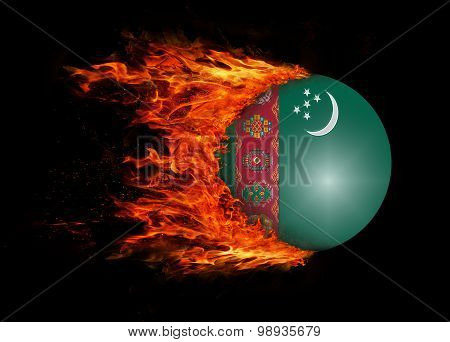 Flag With A Trail Of Fire - Turkmenistan