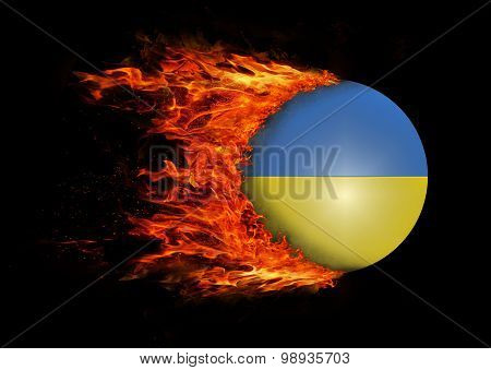 Flag With A Trail Of Fire - Ukraine