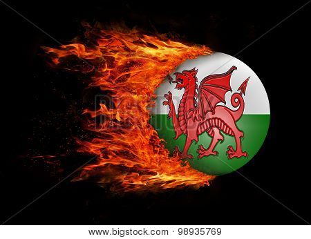 Flag With A Trail Of Fire - Wales