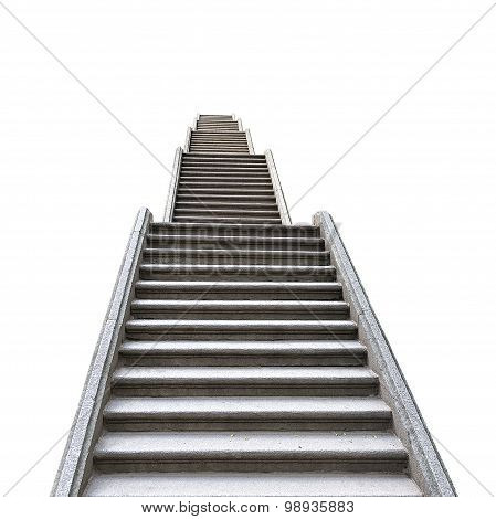 Old Stone Staircase Isolated On White Background