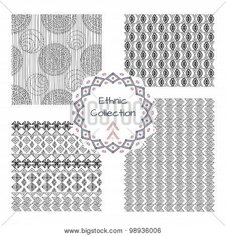 Set Of Abstract Patterns In Ethnic Style