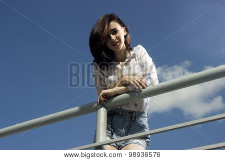 the girl at the handrail