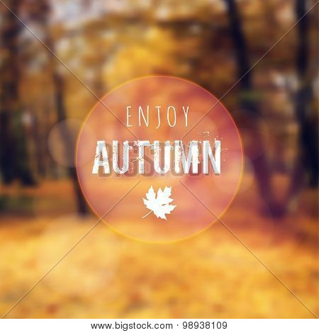 Blurred Retro Card With Autumn, Fall Forest, Vector