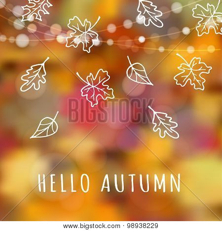 Autumn, Fall Background With Hand Drawn Leaves, Blurred Background, Vector
