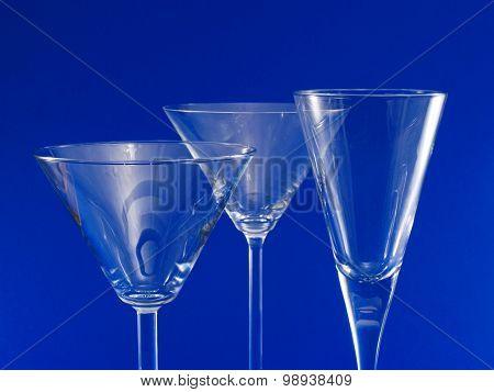 Three Empty Martini Glasses