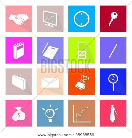 Collection Of 16 Business Item Icons Label