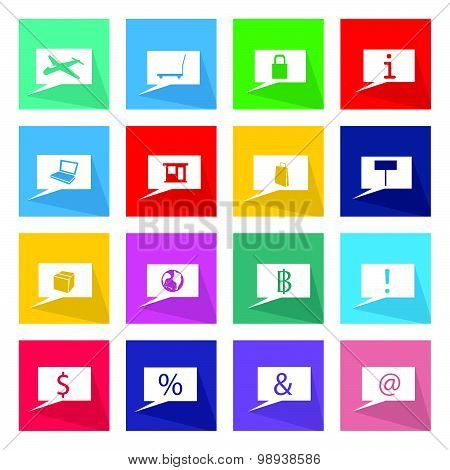 Collection Of 16 Business Thought Bubbles Icons