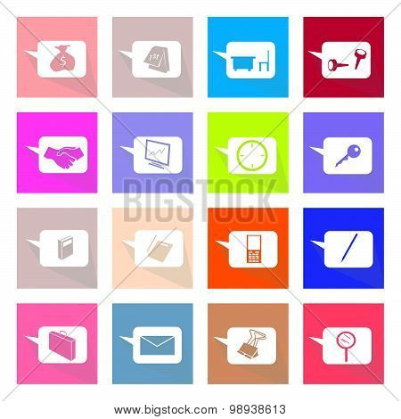 Collection Of 16 Thought Bubbles Icons Banner