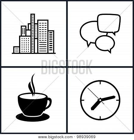 Set Icons  Office Work And Business Life