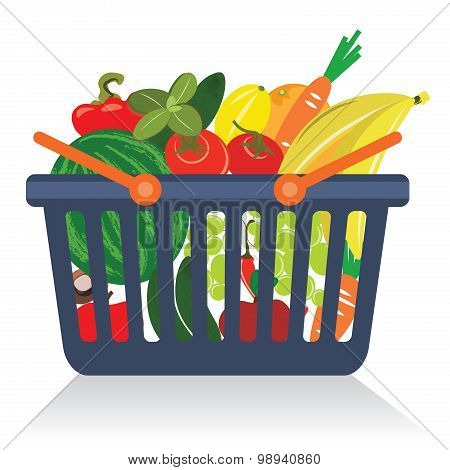 Fruits and vegetables in a basket