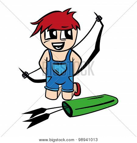 Anime cartoon boy with bow and arrow