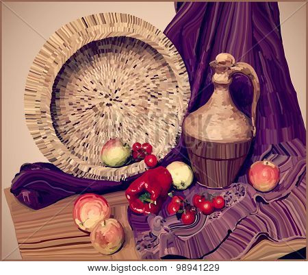 artwork vector painting illustration of still life
