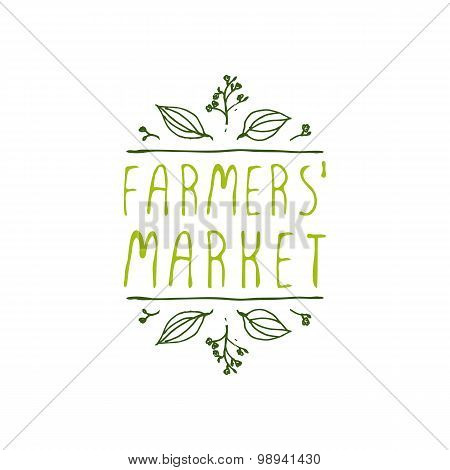 Farmers Market - product label on white background.