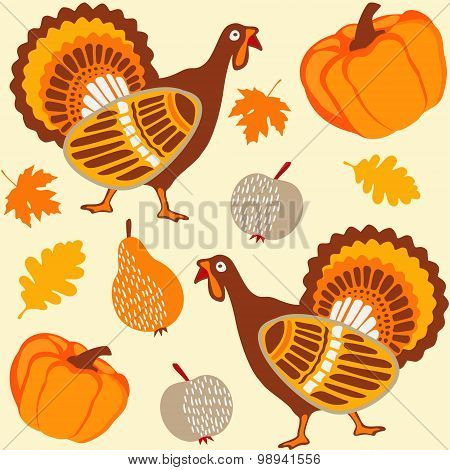 Autumn Thanksgiving Seamless Background With Turkey, Fruit, Pumpkin
