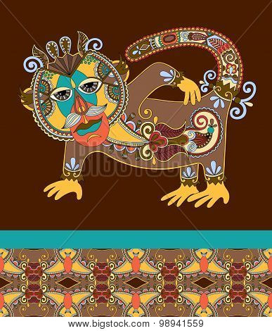 folk ethnic animal - monkey with seamless geometry vintage patte