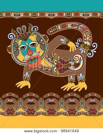 folk ethnic animal - monkey  with seamless stripe pattern