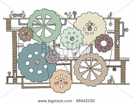 Sketch Of People Teamwork, Gears