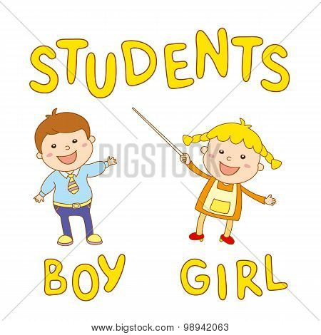 School Kids - Cute Boy And Girl