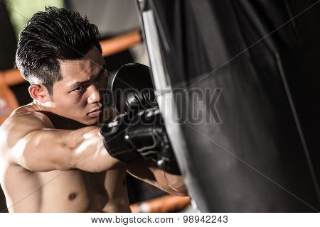 Young Muscular Fighter Training.