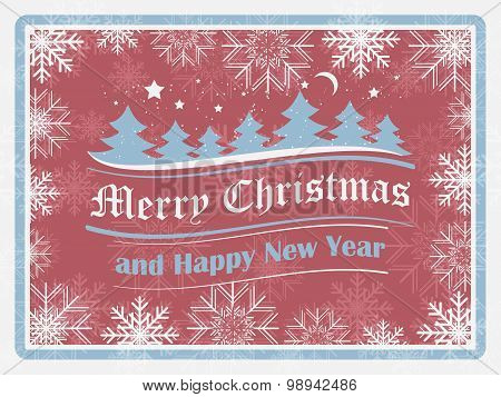 Christmas background in retro style with snowflakes, forest and ornate elements