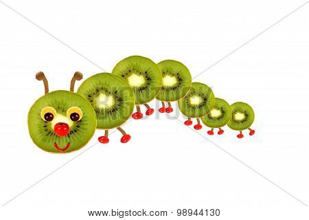 Creative Food Concept. Funny Little  Caterpillar Made From Fruit And Vegetables