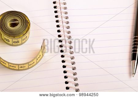 Notepad With Centimeter And Pen