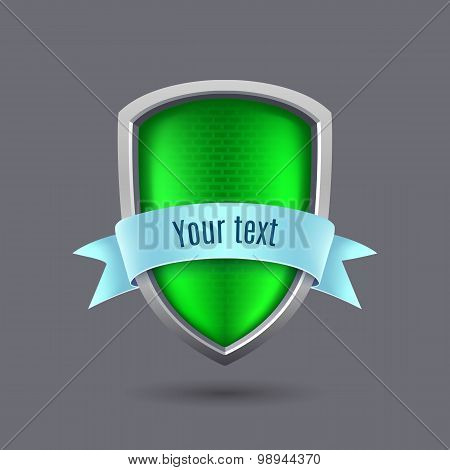 Green Metal Shield On Gray Background