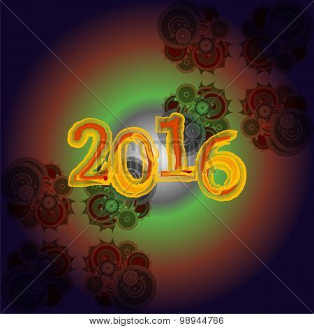 Happy New Year 2016 Creative Greeting Card Design