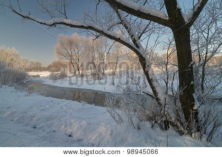 Winter Morning Scene On The River