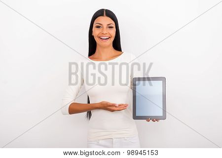 Copy Space On Her Tablet.
