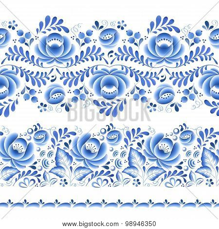 Blue flowers floral russian porcelain beautiful folk ornament.